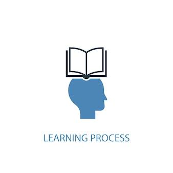 Concetto di processo di apprendimento 2 icona colorata. illustrazione semplice dell'elemento blu. disegno di simbolo del concetto di processo di apprendimento. può essere utilizzato per ui/ux mobile e web