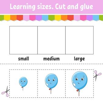 Dimensioni di apprendimento taglia e incolla livello facile