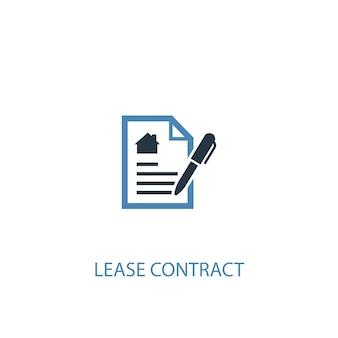 Concetto di contratto di locazione 2 icona colorata. illustrazione semplice dell'elemento blu. disegno di simbolo di concetto di contratto di locazione. può essere utilizzato per ui/ux mobile e web