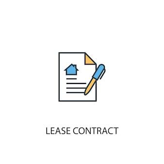 Concetto di contratto di locazione 2 icona linea colorata. illustrazione semplice dell'elemento giallo e blu. disegno di simbolo di struttura del concetto di contratto di locazione
