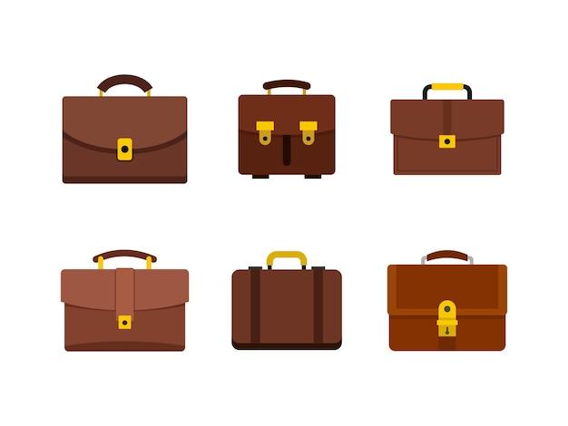 Set di icone di borsa in pelle. insieme piano della raccolta delle icone di vettore della borsa di cuoio isolata