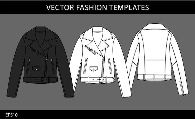 Giacca di pelle, giacca vista anteriore e posteriore.