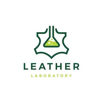 Illustrazione dell'icona di vettore del logo del laboratorio in pelle