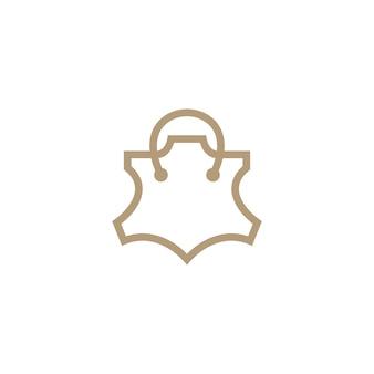 Illustrazione dell'icona del logo genuino della borsa della spesa del negozio del negozio di pelle