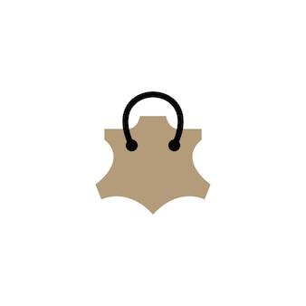 Illustrazione dell'icona di vettore del logo genuino della borsa della spesa del negozio del negozio di cuoio