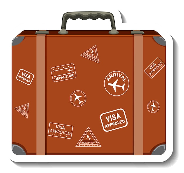 Valigia in pelle con adesivo del fumetto adesivo del viaggiatore