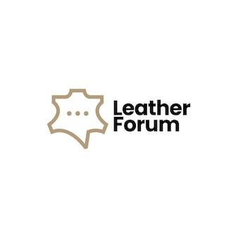 Illustrazione dell'icona di vettore del logo della comunità di chat del forum di discussione in pelle