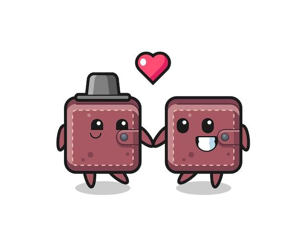 Coppia di personaggi dei cartoni animati di portafoglio in pelle con gesto di innamoramento
