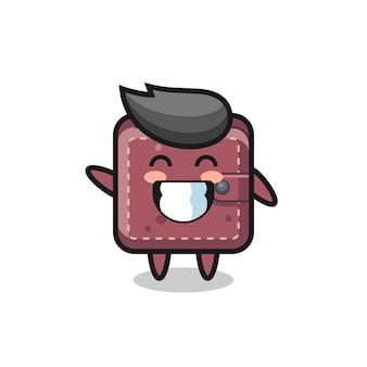 Personaggio dei cartoni animati del portafoglio in pelle che fa il gesto della mano dell'onda