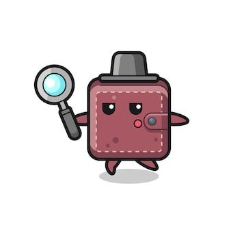 Personaggio dei cartoni animati di portafoglio in pelle che cerca con una lente d'ingrandimento