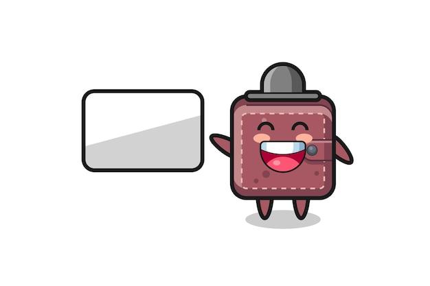 Illustrazione del fumetto del portafoglio in pelle che fa una presentazione