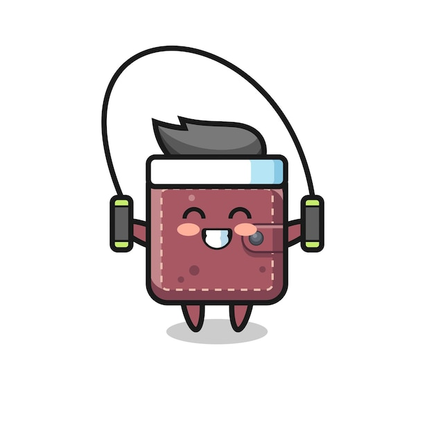 Portafoglio in pelle personaggio cartone animato con corda per saltare