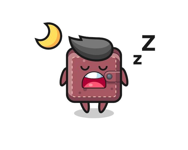 Illustrazione del personaggio del portafoglio in pelle che dorme di notte