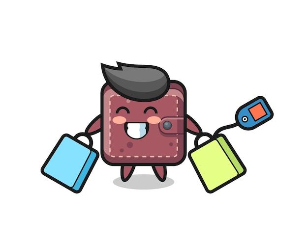 Fumetto della mascotte del portafoglio in pelle che tiene una borsa della spesa