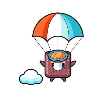 Il fumetto della mascotte del portafoglio in pelle sta facendo paracadutismo con un gesto felice