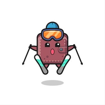 Personaggio mascotte portafoglio in pelle come giocatore di sci, design in stile carino per t-shirt, adesivo, elemento logo Vettore Premium