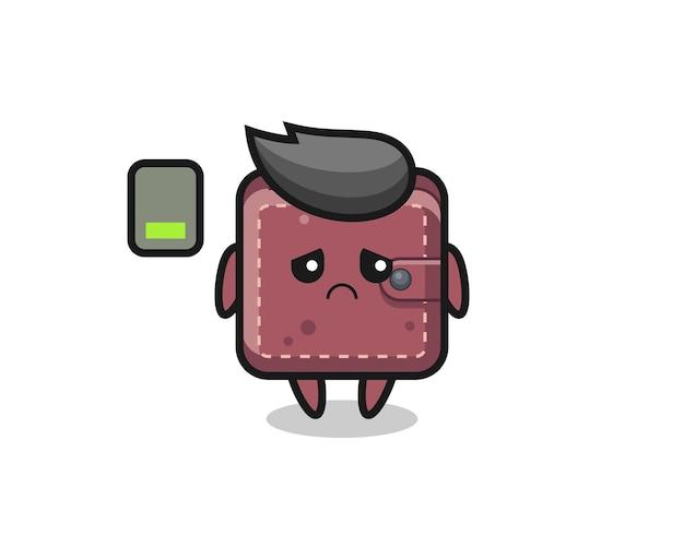 Personaggio mascotte del portafoglio in pelle che fa un gesto stanco