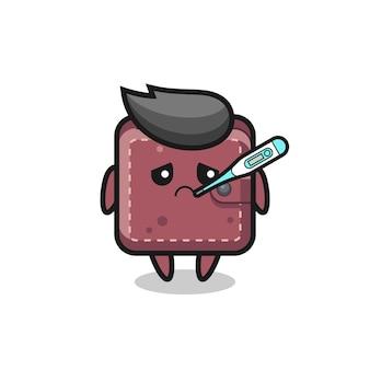 Personaggio mascotte portafoglio in pelle con febbre