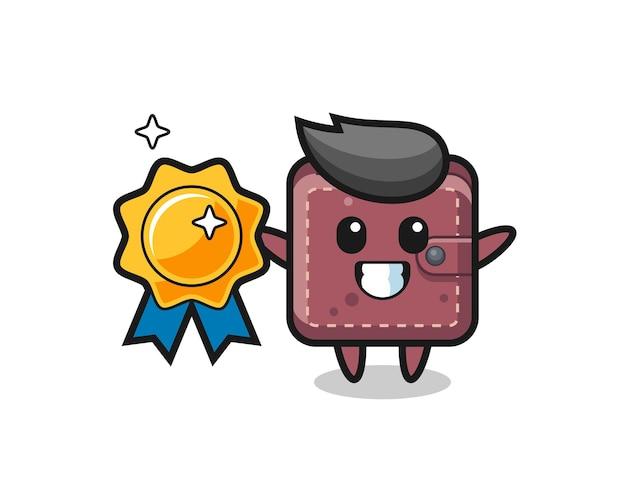Illustrazione della mascotte del portafoglio in pelle che tiene un distintivo d'oro