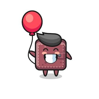 L'illustrazione della mascotte del portafoglio in pelle sta giocando a palloncino