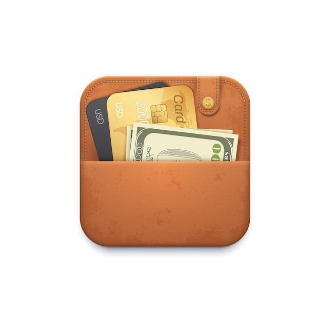 Portafoglio in pelle con carte di credito e denaro Vettore Premium