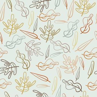 Modello senza cuciture disegnato a mano dell'estratto della foglia di autunno delle foglie