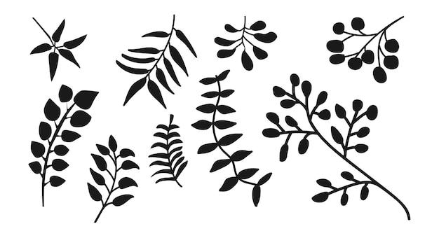 Foglie di sagome nere impostate su sfondo bianco illustrazione vettoriale