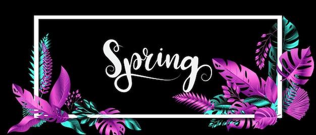 Foglie chrome colore cornice blu e rosa design primavera banner