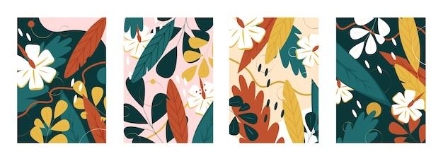 Motivo floreale di foglie e fiori