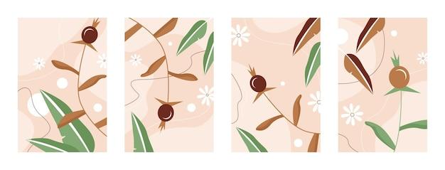 Insieme dell'illustrazione del modello delle foglie
