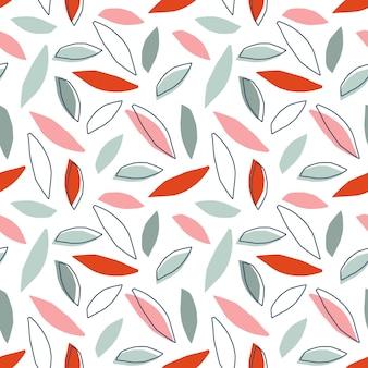 Lascia il modello senza cuciture childish carino doodle schizzo sfondo floreale herb design elements