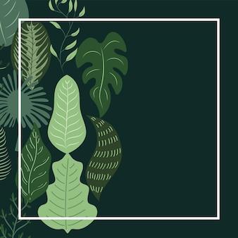 Cornice quadrata di foglie