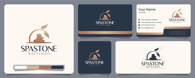 Lascia pietra, spa, equilibrio, biglietto da visita e design del logo