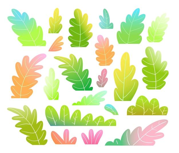 Collezione di clip art colorate e vivaci di foglie o alberi.
