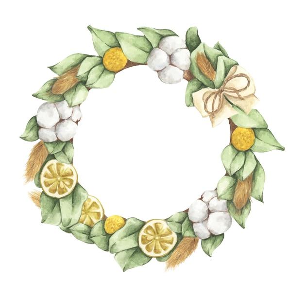 Ghirlanda di foglie con nastro. cornice rotonda. biglietto di auguri, invito a nozze. illustrazione dell'acquerello.