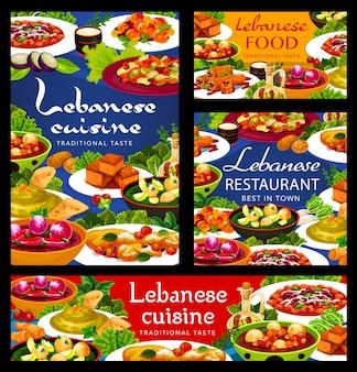 Cucina libanese e cibo arabo piatti vettoriali di zuppe di gnocchi di verdure, hummus, stufato di fagioli di carne. formaggio halloumi, polpette di kofta di agnello e torta sfouf, zucchine ripiene e insalata di fattoush, copertina del menu
