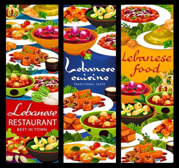 Bandiere di vettore di cibo cucina libanese con piatti arabi di verdure, carne e dessert. hummus, zuppe di canederli e polpette di kofta di agnello, insalata di fattoush, torta, zucchine ripiene e halloumi