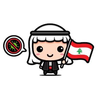 Ragazzo del libano con bandiera contro il virus