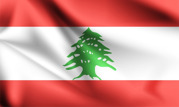 Bandiera del libano che soffia nel vento.