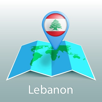 Mappa del mondo di bandiera del libano nel pin con il nome del paese su sfondo grigio