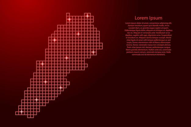 Siluetta della mappa del libano da quadrati di struttura a mosaico rosso e stelle incandescenti. illustrazione vettoriale.