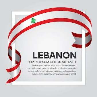 Bandiera del nastro del libano, illustrazione vettoriale su sfondo bianco