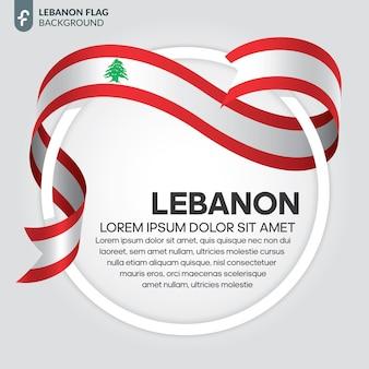 Illustrazione vettoriale di bandiera del nastro del libano su uno sfondo bianco