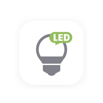 Icona della lampadina a led, pittogramma vettoriale