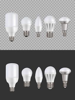 Lampade led, lampadine fluorescenti 3d set