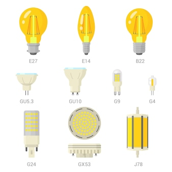 Set di lampadine a led. Vettore Premium