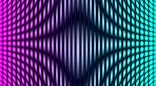 Trama dello schermo a led. monitor digitale lcd. display analogico. effetto diodo elettronico. videowall per televisione a colori. modello di griglia del proiettore. sfondo pixelato con punti. illustrazione vettoriale.