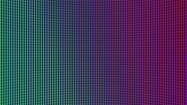 Trama dello schermo a led. monitor lcd. analogico digitale. schermo televisivo. effetto diodo elettronico. videowall televisivo verde, blu, rosso. modello di griglia del proiettore. illustrazione vettoriale.