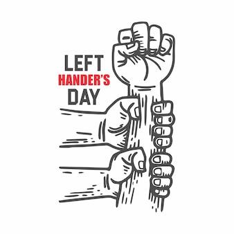 Giornata per mancini. 13 agosto. mano che si tiene. illustrazione serrata a mano
