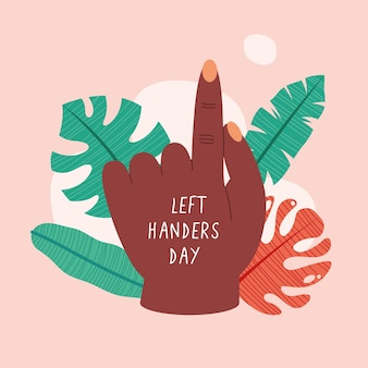 Giornata per mancini con mano e foglie afro